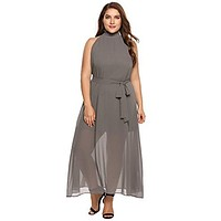 Zeagoo Womens Plus Size Chiffon Sleeveless Maxi Formal Dresses Solid Belted Party Dress Grey 16