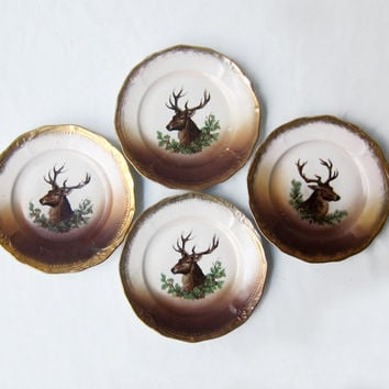 Antique Victorian Z S & C Bavaria stag buck porcelain bread and butter plates