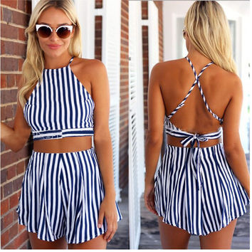 Strap Backless Crop Top Wide Leg Shorts Stripe Two Pieces Set