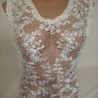 Knitted White Transparent Low Back Blouse by Arzu's Style