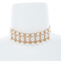 Faux Pearl & Gold Layered Choker Necklace