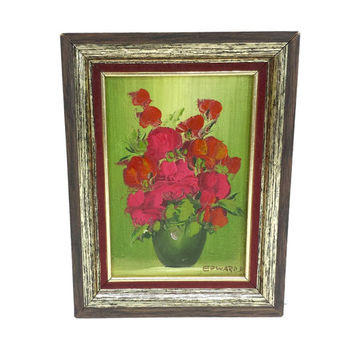 Floral Bouquet Oil Painting 9x7 Vintage Framed Still Life Art Colorful Distressed Acrylic Amature Retro Wall Decor Canvas Pink Red Green