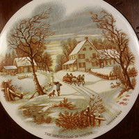 """Currier and Ives Hot Plate """"The Homestead in Winter"""" Ceramic Wood Surround Feet and Hanger Trivet Hot Plate Vintage 80s Currier & Ives"""