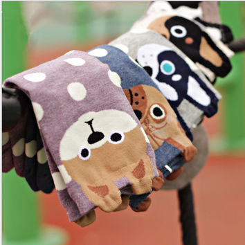 Women lovely Dogs Socks Cute Cartoon Sox Summer Syle Fashion Cotton Printing Tube Socks floor