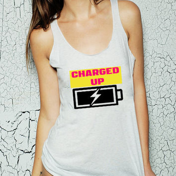CHARGED UP women's jersey racer back tank top