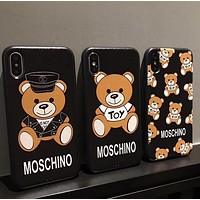 MOSCHINO Fashionable Cuddly Teddy Bear Soft Mobile Phone Cover Case For iphone 6 6s 6plus 6s-plus 7 7plus 8 8plus X