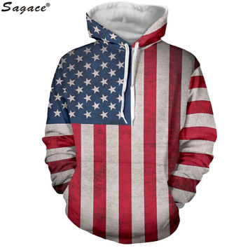 Modern Men Outerwear American Flag Coats Vintage The Star-Spangled Banner Print Clothing Boy Hip Hop Coat Pocket Pullover