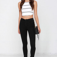 Torch in the Night Black High-Waisted Skinny Jeans
