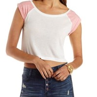 Ivory Cuffed & Cropped Baseball Tee by Charlotte Russe