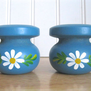 Blue Daisy Flower Print Danish Wood Candle Holder MCM Spring Scandinavian Home Decor