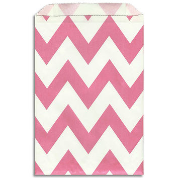 Bright Pink Chevron Stripe Paper Bags