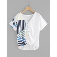 Contrast Striped Button Through Tee White