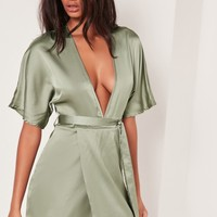 Missguided - Silky Kimono Dress Green