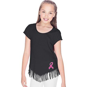 Girls Breast Cancer T-shirt Pink Ribbon Bottom Print Fringe Tee