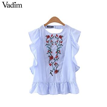 Vadim women sweet ruffles floral embroidery beading shirts sleeveless back cut out blouse casual European style tops WT440