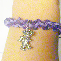 Purples Grateful Dead Dancing Bear Hemp Bracelet jewelry hippie handmade