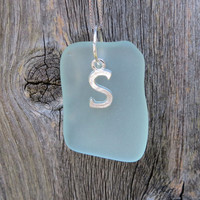 Sterling Silver Sea Glass Custom Initial  Necklace in Pale Aqua by WaveofLife