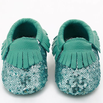 Turquoise Sequin Baby, Toddler Moccasins