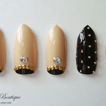 3D Bling Fake Nail Set - Nude Beige & Black Nails with Gold Studs and Crystal Rhinestones