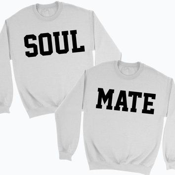 His or Hers Soul Mate Couples Sweatshirt Jumper Best gifts for him or her Love Heart Valentines Mr Mrs Wedding Honeymoon Match