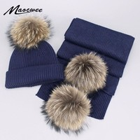 Children Adult Parent-Child Winter Hat & Scarf Pom Poms Woman Hat Winter Cap Warm Knit Cap Beanie Knitted Hats Scarfs For Girl