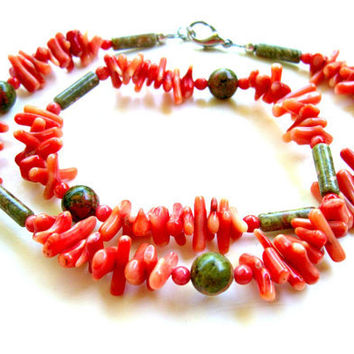 Natural Unakite and Red Bamboo Coral Branch Necklace - Sterling Clasp -  Bootsie's World