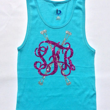 Glitter Monogrammed Tank top, Baton Twirler, Majorette, Monogrammed Dance wear Gymnastics Apparel Girls, Youth, Women Teens