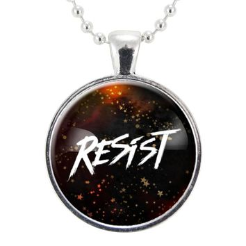 Resist Necklace, Anti-Racism & Protest Resistance Pendant, Feminist Jewelry, LGBT & LGBTQ Rights