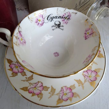 Cyanide Poison Tea Cup Pink and Gold Gothic Mothers day gift