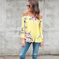 *in store* floral off the shoulder bell sleeve top
