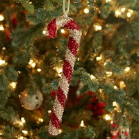 TINSEL CANDY CANE ORNAMENT