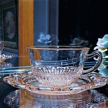 Pink Depression Glass 1930s Cup and Saucer Set Old Colony Lace Edge Vintage Kitchen Decor Cottage Home Wedding Table Decoration House