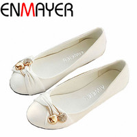 ENMAYER Free shipping women's fashion shoes flat shoes large size 4-14 female ballet shoes