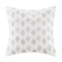 INK+IVY Mira Ikat Square Throw Pillow in White/Silver