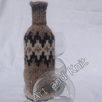 Ready to ship, Icelandic wool, lopi, wine bottle cover, bottle cover, wine cover, love wine, housewarming gift, anniversary gift,