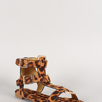 Dollhouse Leopard Double Buckle T-Strap Open Toe Flat Sandal