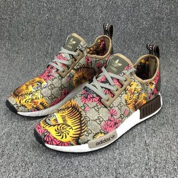 Gucci x Adidas NMD R_1 Boost GG Tiger Pattern Fashion Casual Running Sneakers G