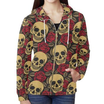 Skull & Roses Design 1 Women's All Over Print Full Zip Hoodie