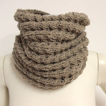 Tan Wool Snood, Knit Neck Warmer, Brown Chunky Cowl, Knit Infinity Scarf, Tan Cable Knit Cowl, Brown Winter Scarf, Hand Knitted Cowl