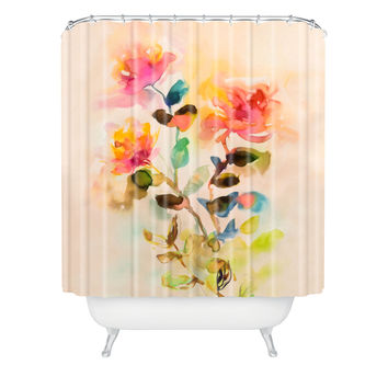 Marta Spendowska Watercolor Vintage Roses Shower Curtain