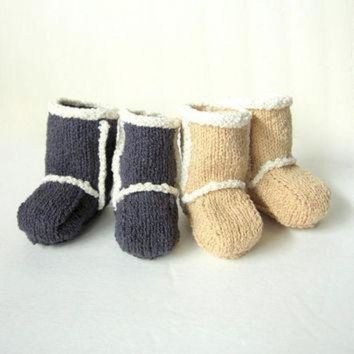 ICIK8X2 Hand Knit Baby Booties - Ugg Inspired Made to Order