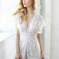 Love at First Sight Lace Romper (Ivory)