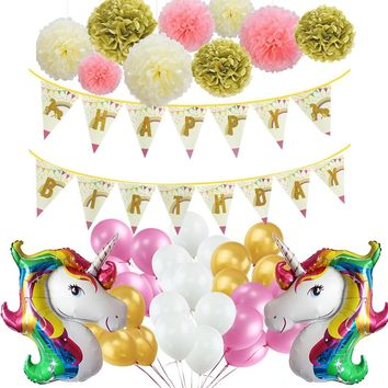 Unicorn Theme Party Decoration Set Tissue Paper Tassel Garalnd Paper Pom Poms Unicorn Banner Foil Balloon Kids Birthday Wedding