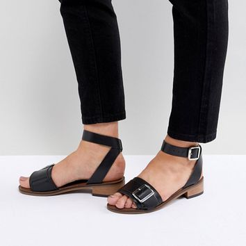 H By Hudson Leather Flat Sandals at asos.com