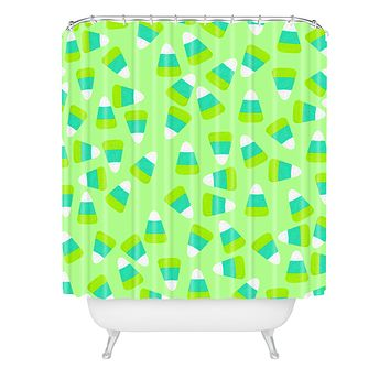 Lisa Argyropoulos Candy Corn Jumble Fang Green Shower Curtain