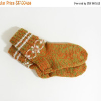 Hand Knitted Wool Socks - Green and Orange, Size Small