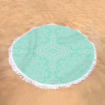 Round Beach Towel Green Mint Mandala Pattern Boho Bohemian Large Beach Blanket India Indian Pattern Seafoam Green