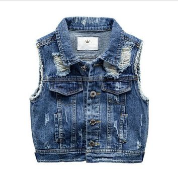 Trendy New 2017,Boy Denim Vest,Spring Autumn,Broken Hole Style,Kids Boy Waistcoat,Kids Boy Clothes,Baby Jeans Jacket,For 2-7T Outerwear AT_94_13