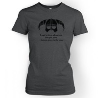 Something Geeky PP - Women's Arrow In The Knee T-shirt - Inspired By Skyrim (Black Detail)