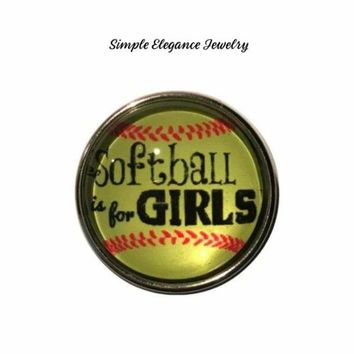 Softball Girl's Snap Charm 20mm for Snap Jewelry